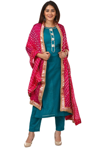Sea Green Gotta Work Kurti with Straight Pants and Pink Bandhani Dupatta