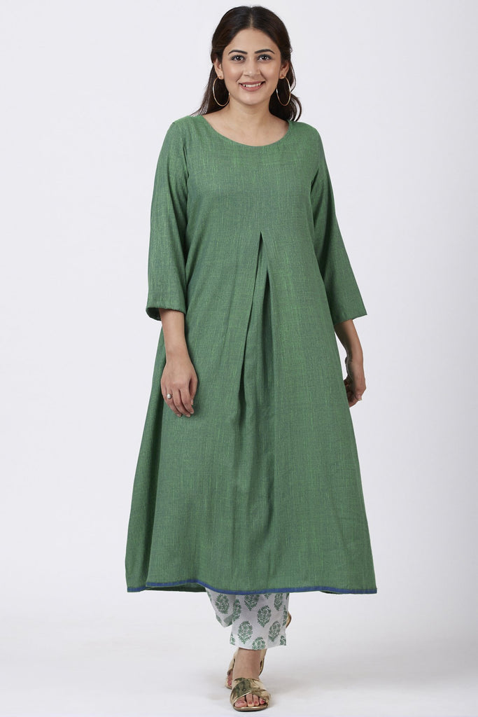 anokherang Combos Shaded Jade Front Pleat Kurti with Straight Pants