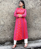anokherang Combos Shining Pink Paneled Kurti with Straight Pants