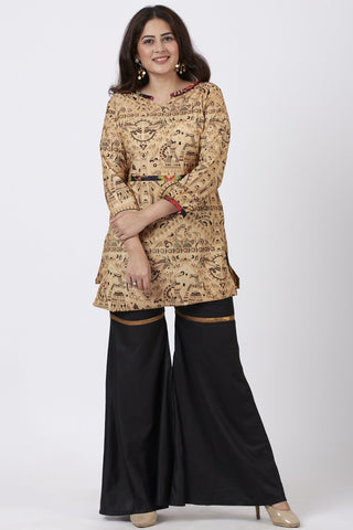 Short Printed Kurti with Black Sharara