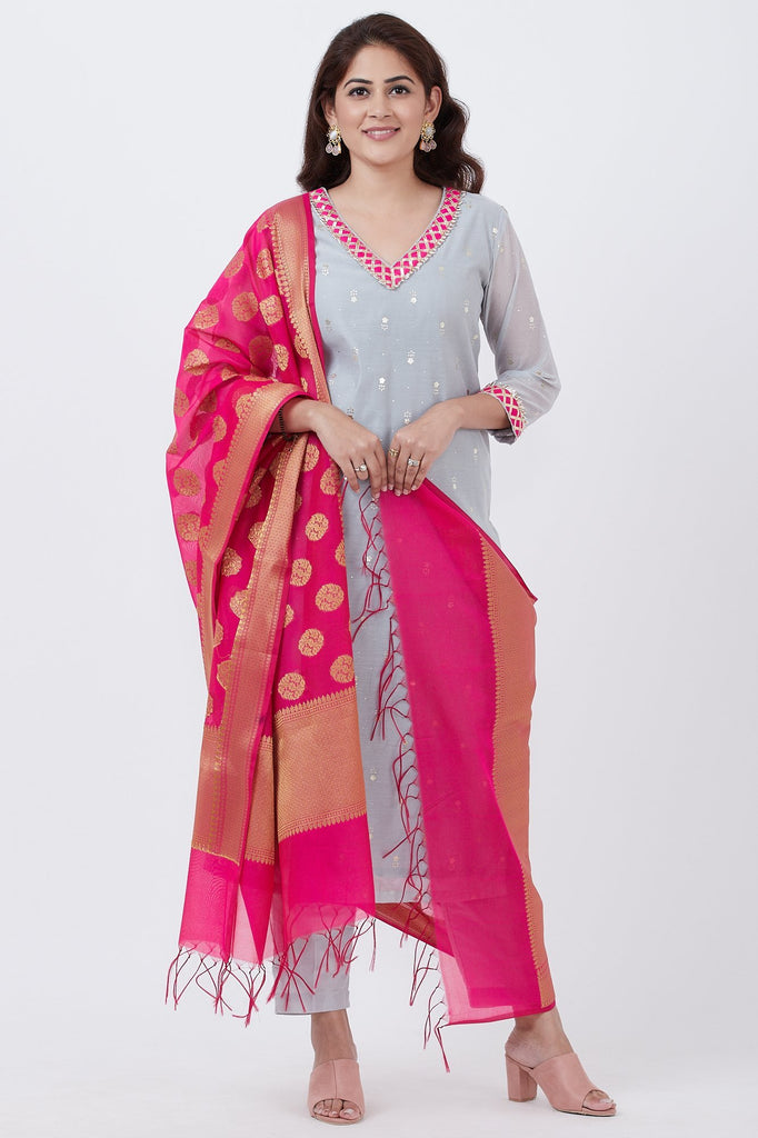 anokherang Combos Sky Gray Foil Printed Kurti with Pants and Pink Banarsi Dupatta