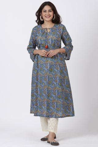 Smiling Blue Orange Floral Printed Belt Kurti with Straight Palazzo