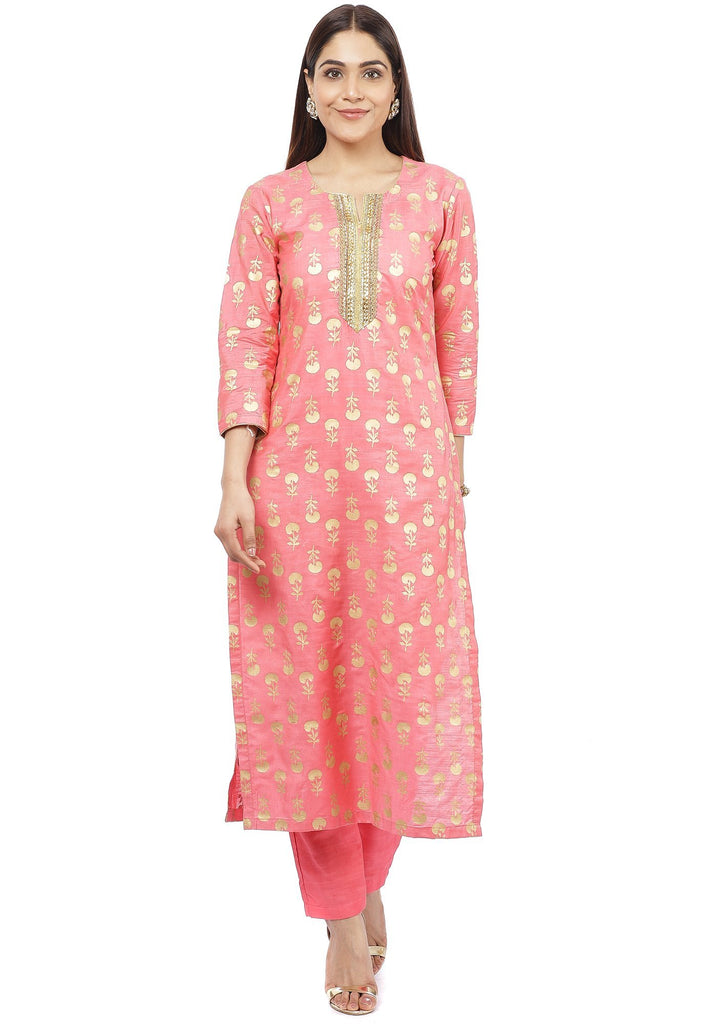 anokherang Combos Smiling Peach Straight Kurti with Straight Pants