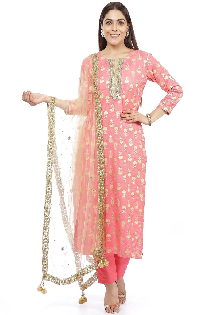 anokherang Combos Smiling Peach Straight Kurti with Straight Pants and Mirror Stone Dupatta