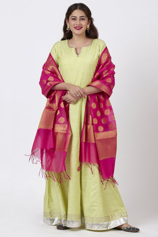 Pista Green Kurti Dress with Pink Banarsi Dupatta