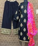anokherang Combos The Black Gold Kurti with Palazzo and Bandhini Dupatta