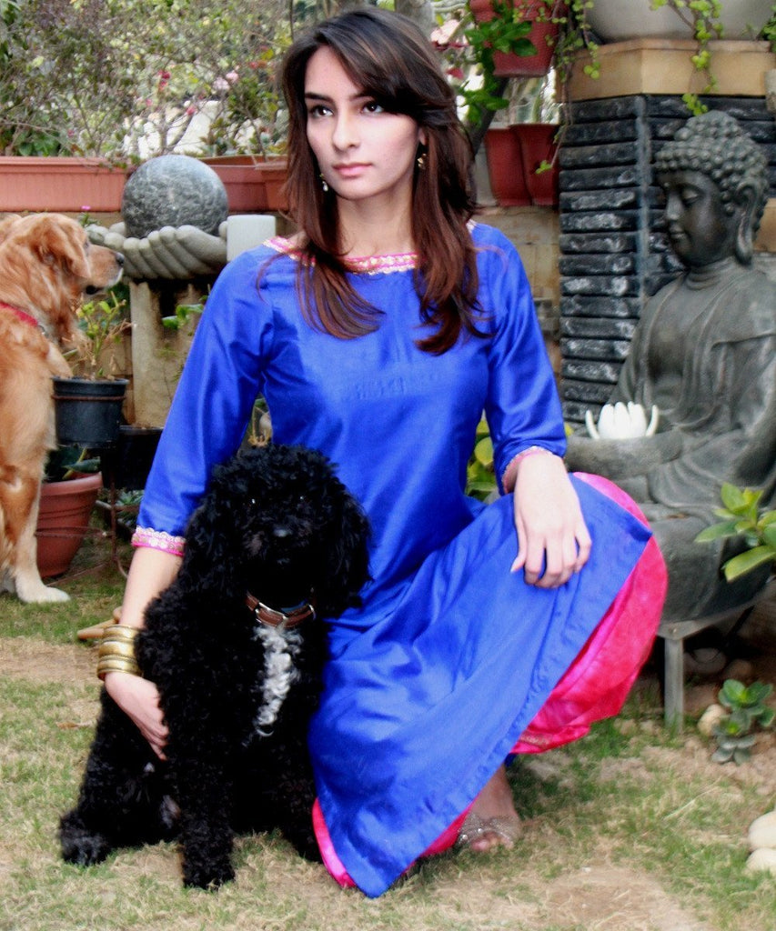 anokherang Combos The Blue Chic Silk Kurti with Dhoti Pants