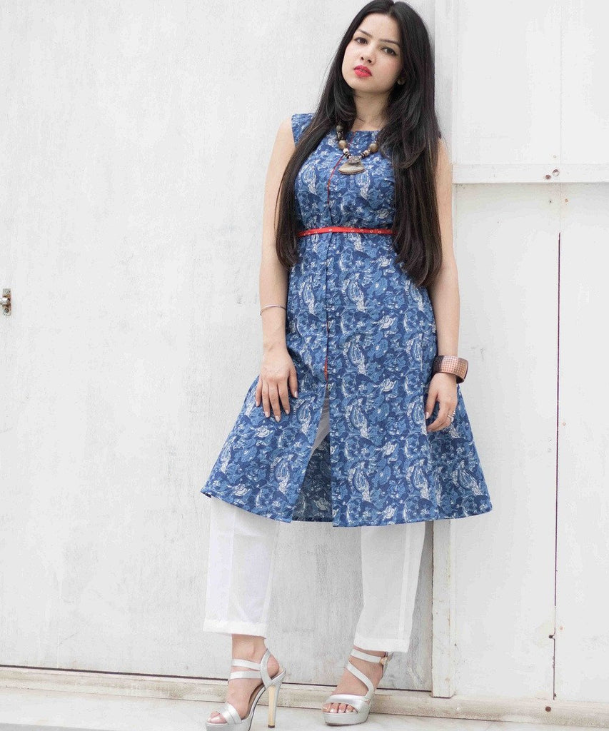 anokherang Combos The Blue Paisley Kurti with White Pants