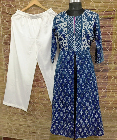 anokherang Combos The Indigo Love Front Open Long Kurti with Straight Palazzo