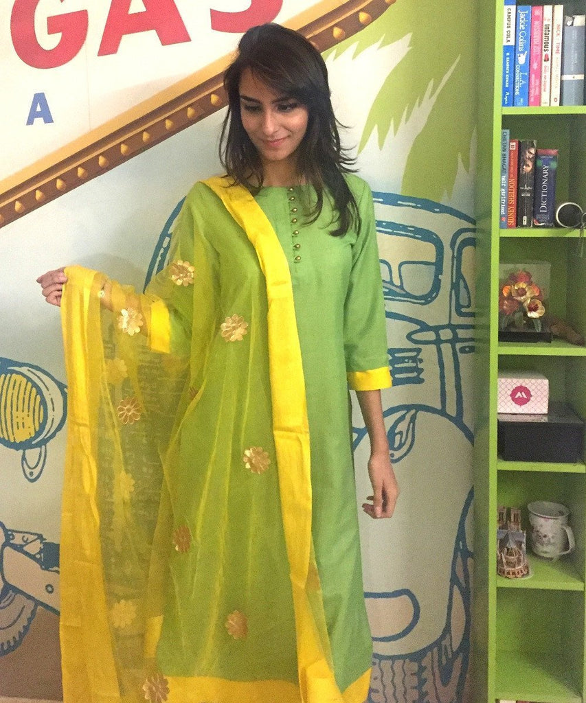 anokherang Combos The Lemony Layered Kurti with Pants & Organza Dupatta