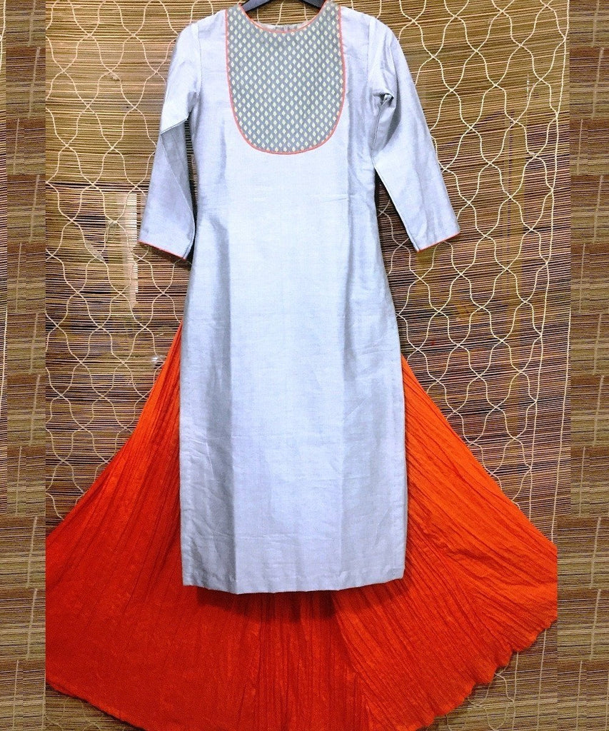 anokherang Combos The Morning Blush Long Kurti with Crushed Cotton Skirt
