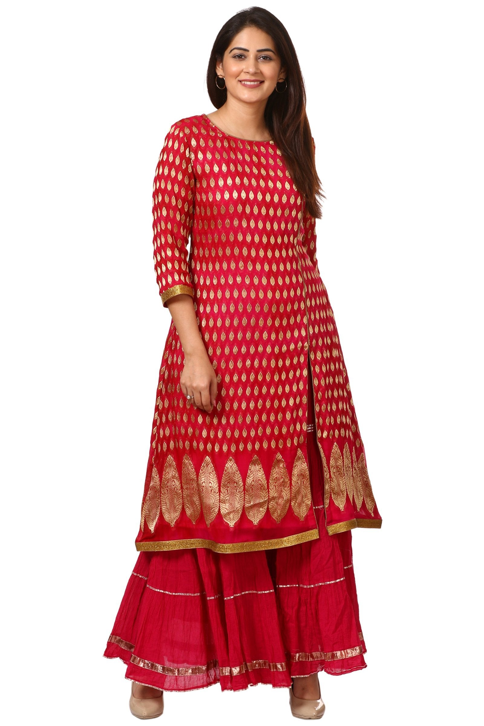 d4129c7182d87 Home   Products   Pink Red Paisley Long Kurti with Crushed Sharara