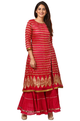 Pink Red Paisley Long Kurti with Crushed Sharara