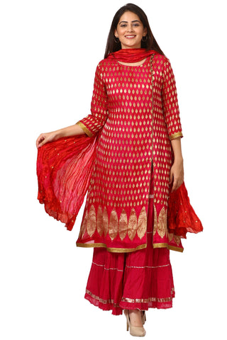 Pink Red Paisley Long Kurti with Crushed Sharara and Crushed Silk Dupatta