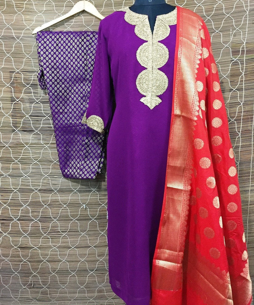anokherang Combos The Purple Rogue Kurti with Pants and Chanderi Banarsi Dupatta