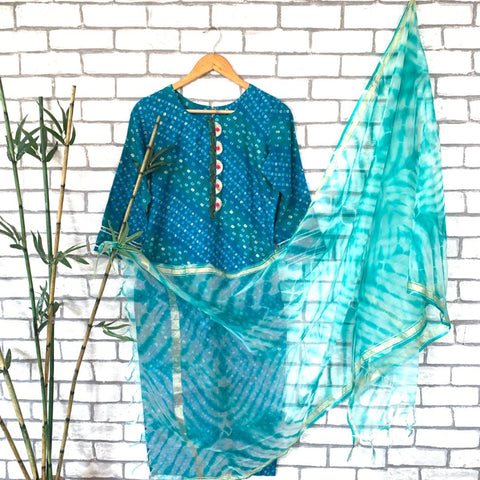 Turquoise Blue Kurti with Palazzo and Tie n Dye Dupatta