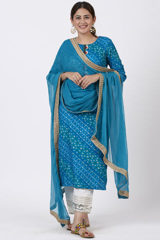 Turquoise Blue Straight Kurti with Ivory Straight Palazzo and Gotta Dupatta