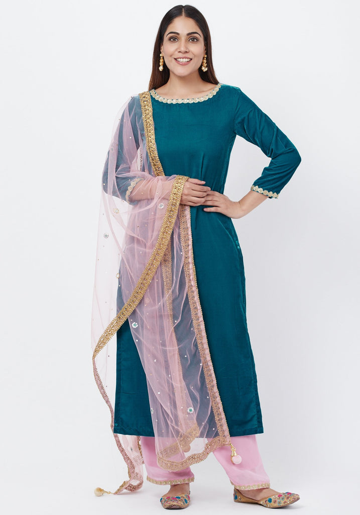 anokherang Combos Turquoise Blue Velvet Kurti with Lavender Palazzos and Mirror Dupatta