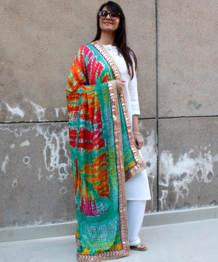 anokherang Combos White Gota Kurti with Palazzo and Sea Green Red Tie & Dye Dupatta