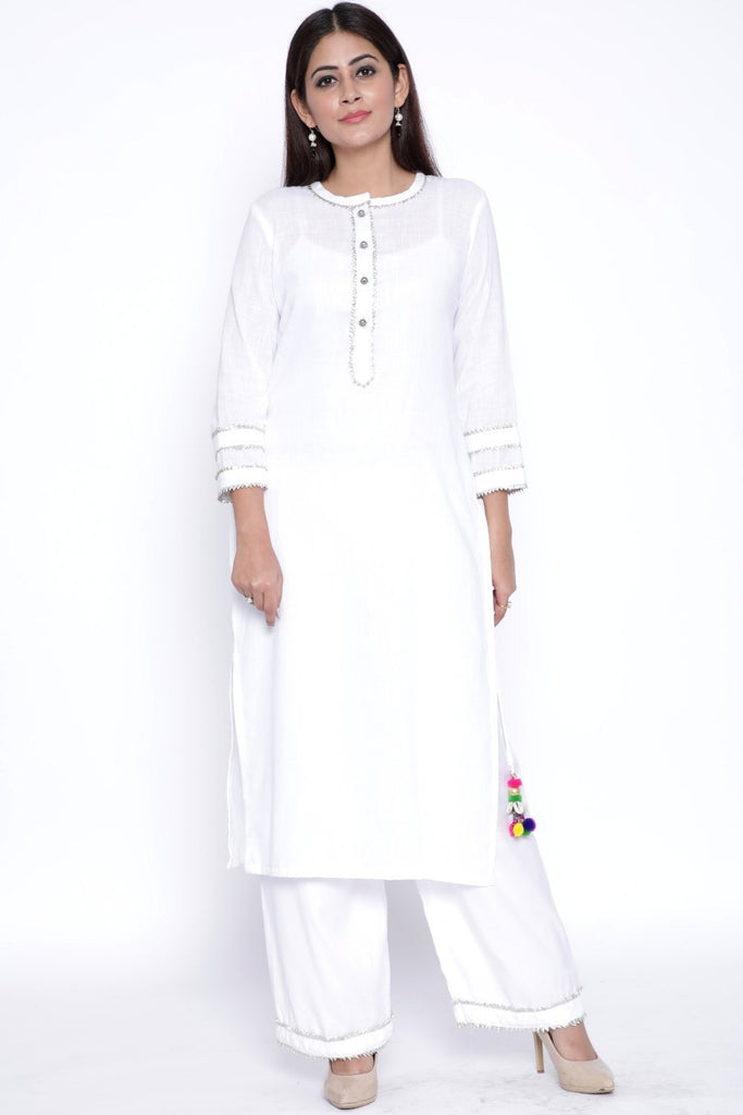 anokherang Combos White Gota Work Kurti with Straight Palazzo