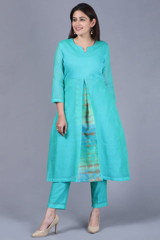 Aqua Green Front Pleat Kurti with Straight Pants