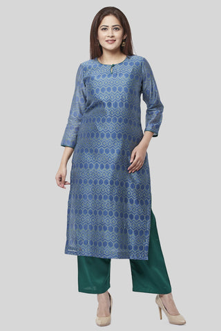 Aquamarine Green Straight Kurti with Straight Pants
