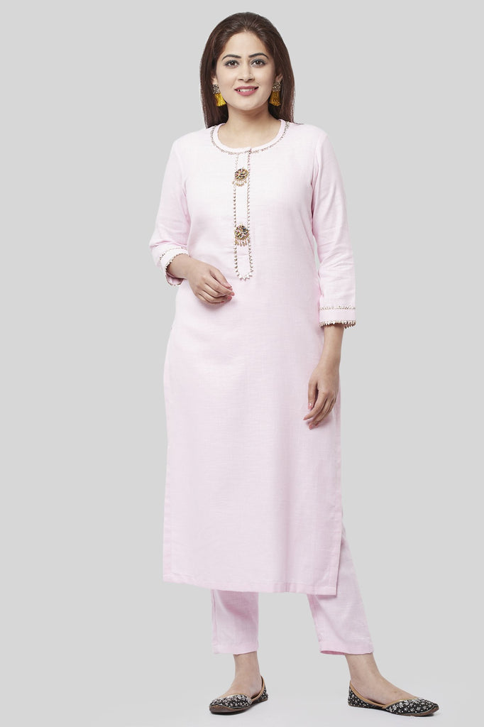 anokherang Combos XS Baby Pink Gotta Straight Kurti with Straight Pants