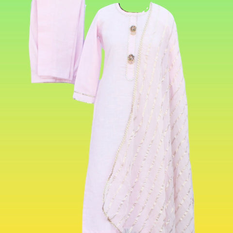 Baby Pink Gotta Straight Kurti with Straight Pants and Baby Pink Foil Printed Chiffon Dupatta
