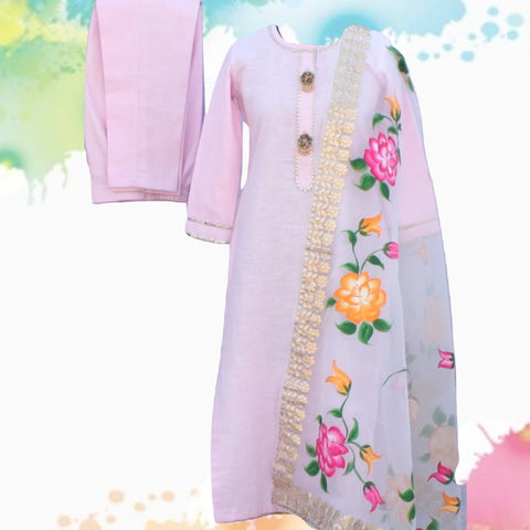 Baby Pink Gotta Straight Kurti with Straight Pants and Floral Hand Painted Gotta Organza Dupatta