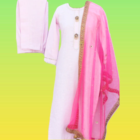 Baby Pink Gotta Straight Kurti with Straight Pants and Hot Pink Mirror Stone Net Dupatta