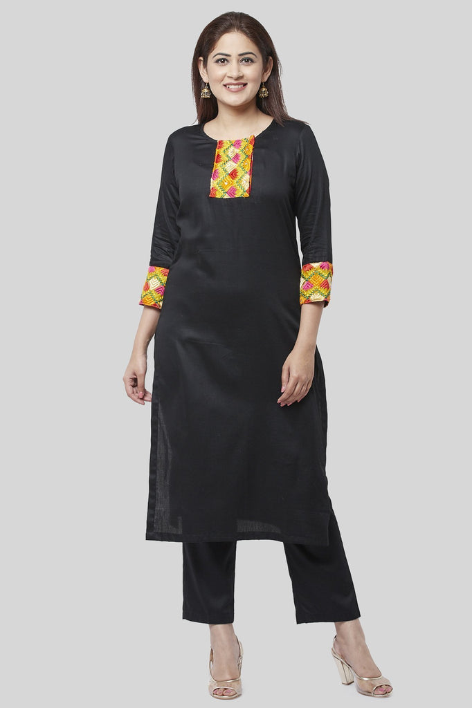 anokherang Combos XS Black Phulkari Straight Kurti with Straight Pants