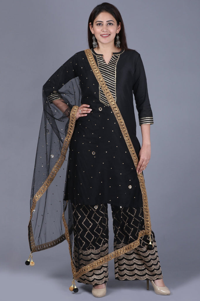 anokherang Combos XS Black Shine Short Kurti with Embroidered Palazzo and Black Mirror Stone Net Dupatta
