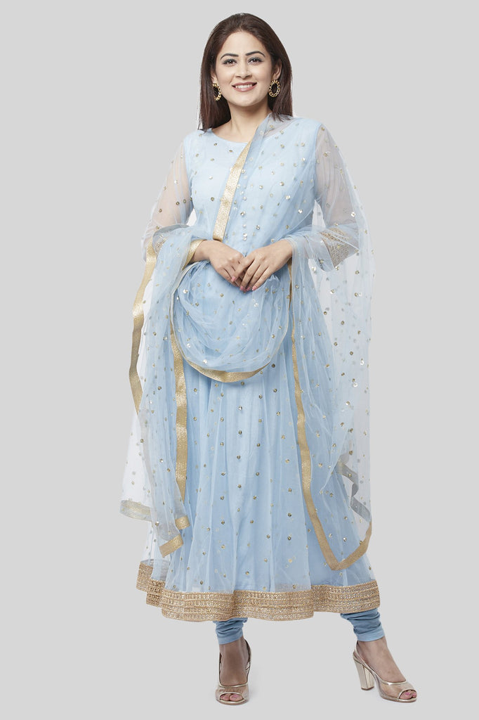 anokherang Combos XS Blush Blue Net Sequenced Anarkali with Leggings and Sequenced Dupatta
