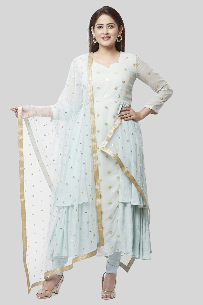 anokherang Combos XS Celeste Sparkled Ruffle Kurti with Leggings and Net Sequenced Dupatta
