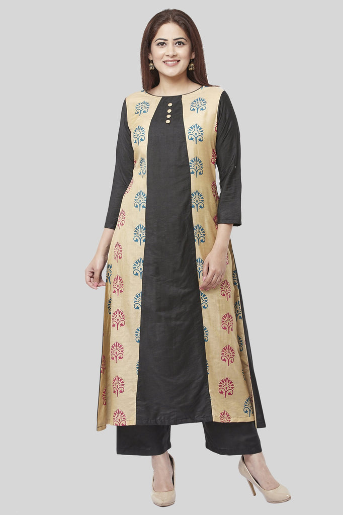 anokherang Combos XS Charcoal Black A-Line Paneled Kurti with Straight Palazzo