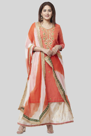 Coral Embroidered Chanderi Kurti with Off-White Foil Kalidaar Palazzo and Leheriya Chiffon Dupatta