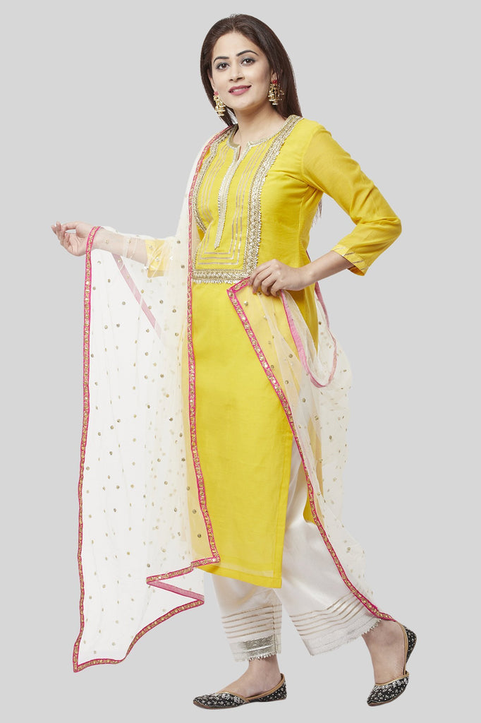 anokherang Combos XS Daffodil Gotta Straight Kurti with Off-White Gotta Palazzo and Off-White Sequenced Dupatta
