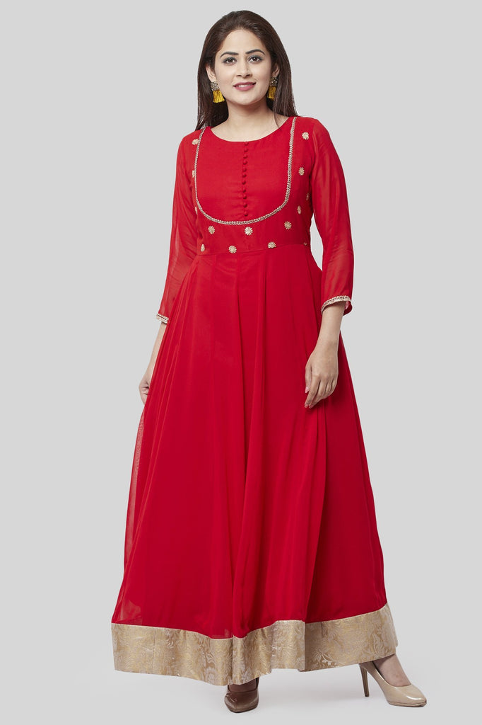 anokherang Combos XS Fiery Red Georgette Floorlength