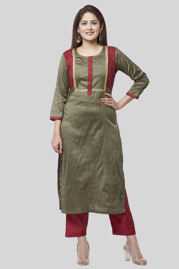 anokherang Combos XS Fire Brick And Sage Green Kurti with Straight Pants