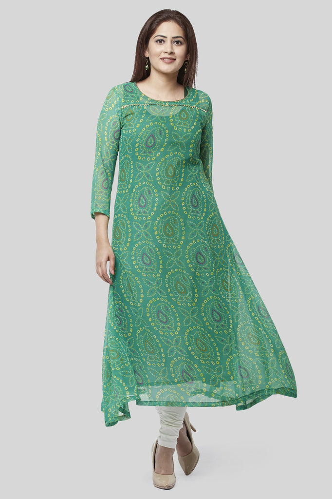anokherang Combos XS Flying Green Bandhej Gotta Kurti with Off-White Churidaar
