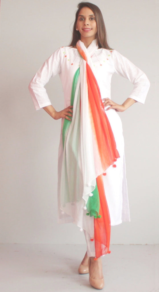 anokherang Combos XS Freedom Colors Kurti with Straight Pants and Tricolor Chiffon Dupatta