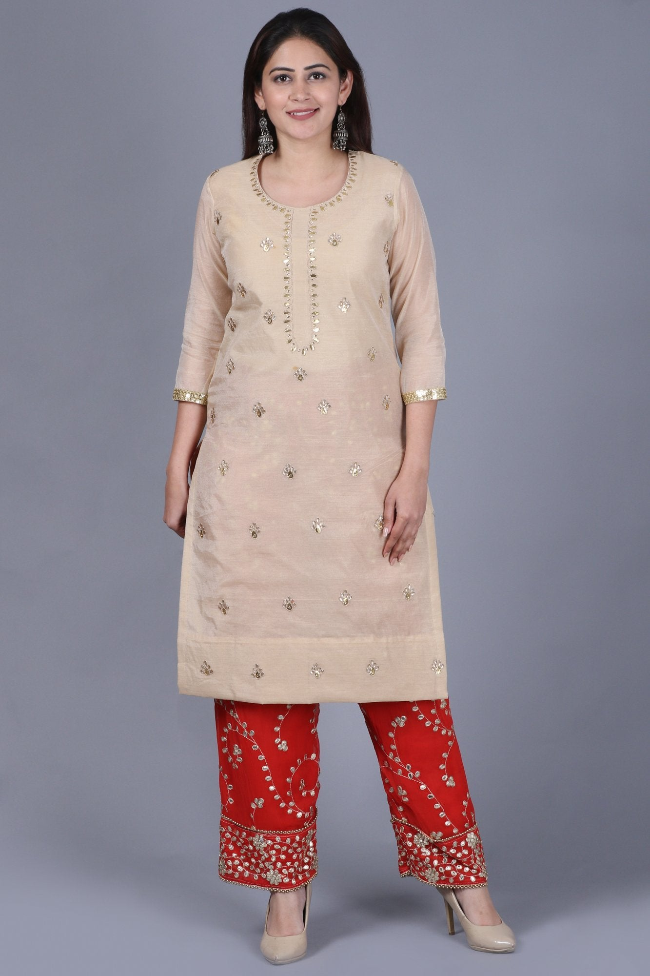001e1a63b89 Home   Products   Gold Gotta Straight Kurti with Red Gotta Embroidered  Palazzo