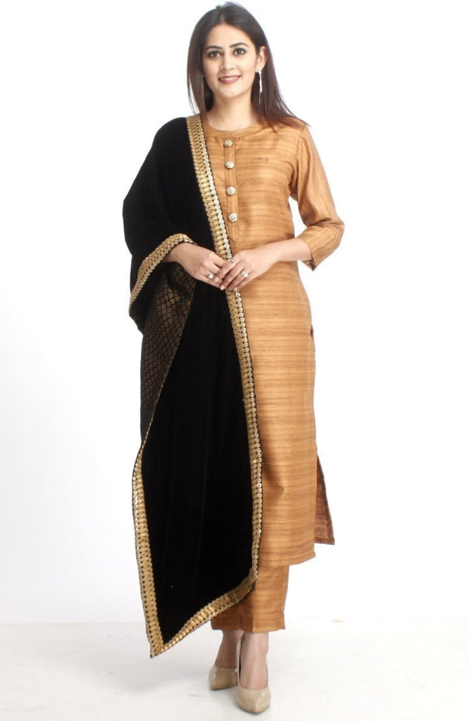anokherang Combos XS Gold Kundan Silk Kurti with Straight Pants and Black Velvet and Banarsi Stole