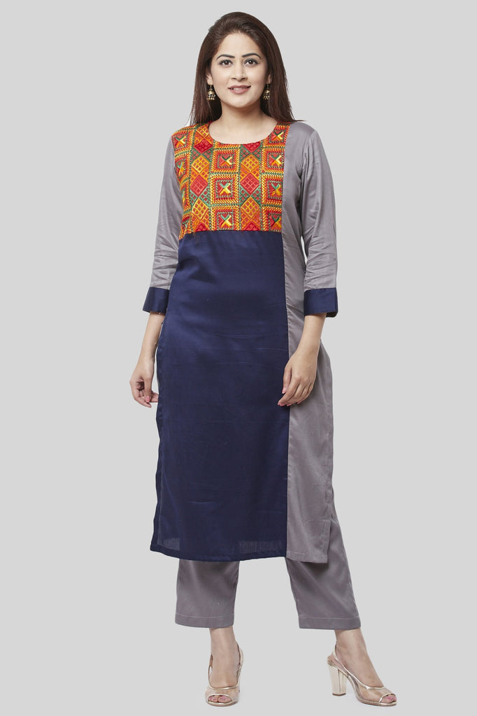 anokherang Combos XS Gray Blue Phulkari Bagh Straight Kurti with Straight Pants