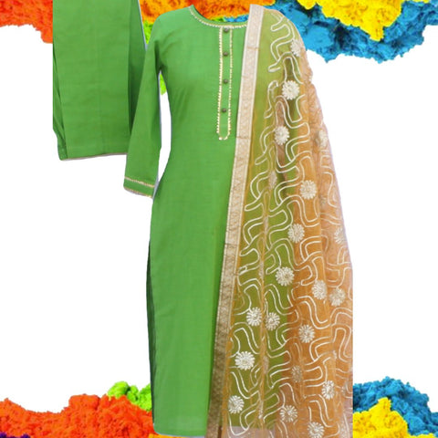 Green Gotta Straight Kurti with Straight Pants and Mustard Gotta Embroidered Net Dupatta