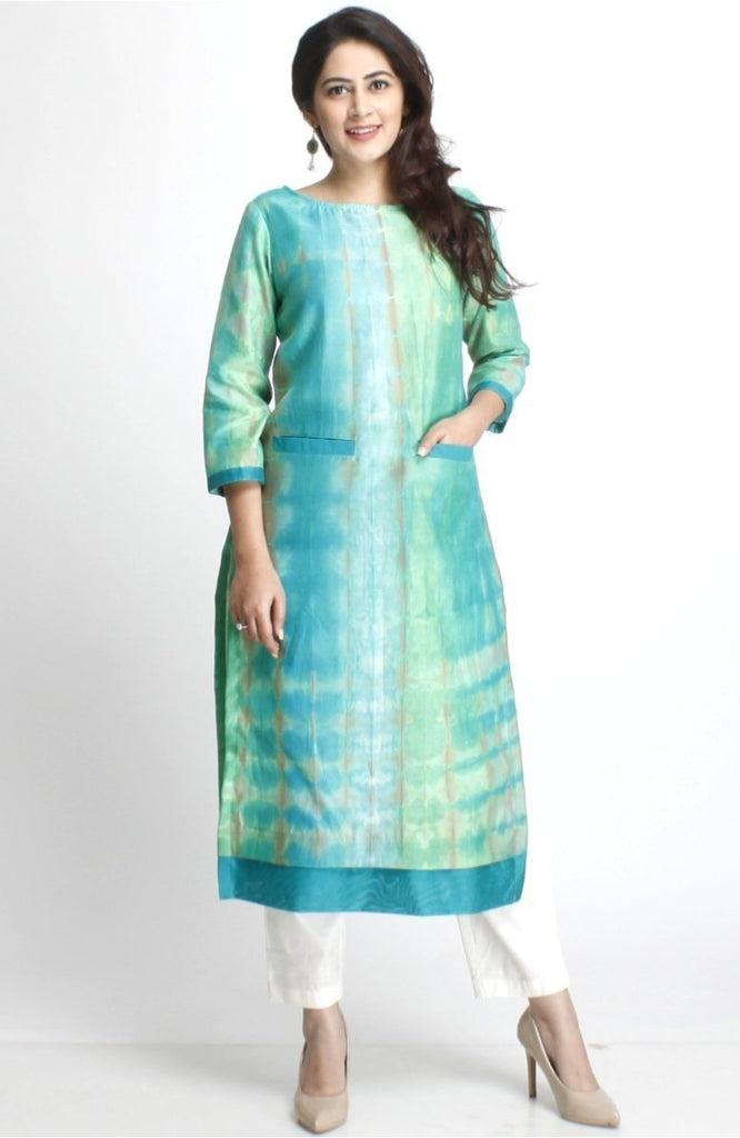 anokherang Combos XS Haryali Straight Kurti with Pockets and Straight Pants