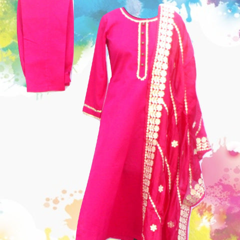 Magenta Gotta Straight Kurti with Straight Pants and Pink Gotta Embroidered Silk Dupatta