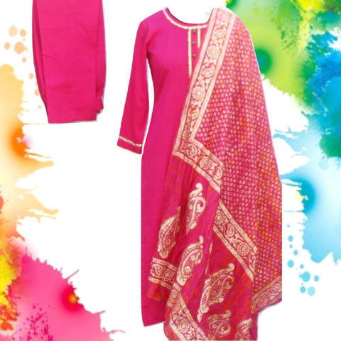 Magenta Gotta Straight Kurti with Straight Pants and Pink Orange Tie-Dye Foil Printed Silk Dupatta