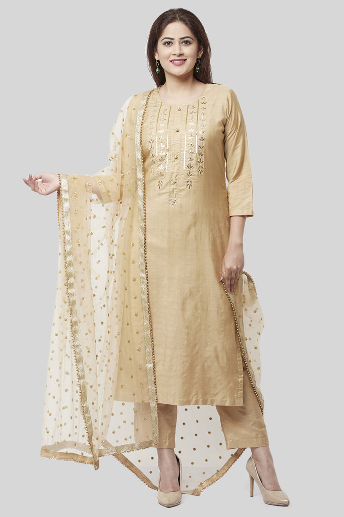 anokherang Combos XS Mellow Gold Embroidered Kurti and Straight Pants with Mellow Sequenced Net Dupatta