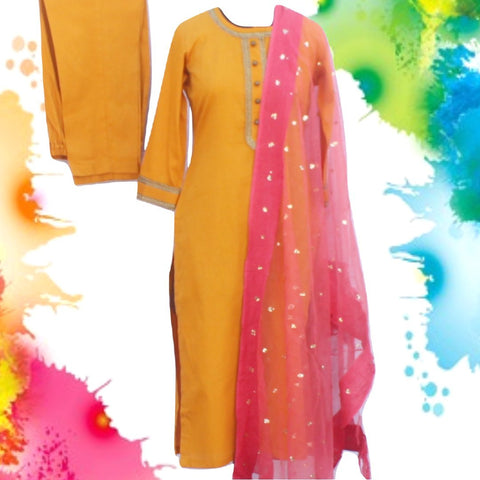 Mustard Gotta Straight Kurti with Straight Pants and Coral Pink Sequenced Organza Dupatta